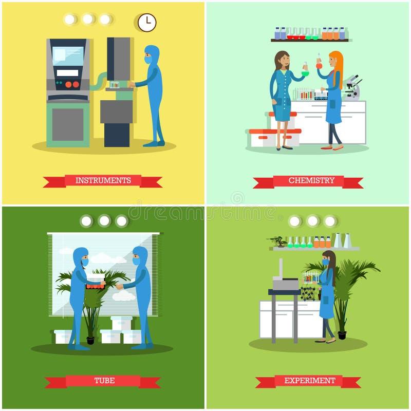 Wektorowy ustawiający badań naukowych laboratoriów mieszkania stylu plakaty, sztandary ilustracji