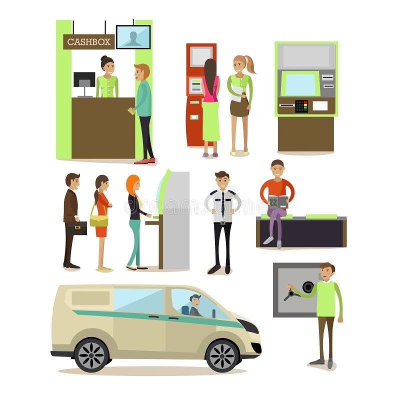 Wektorowy ustawiający bankowości pojęcia projekta elementy w mieszkanie stylu royalty ilustracja