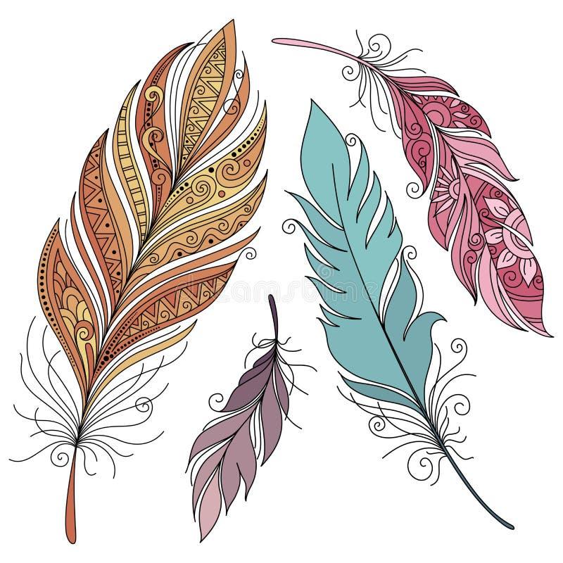 Wektorowy Ustawiający Barwioni Ozdobni Dekoracyjni piórka royalty ilustracja
