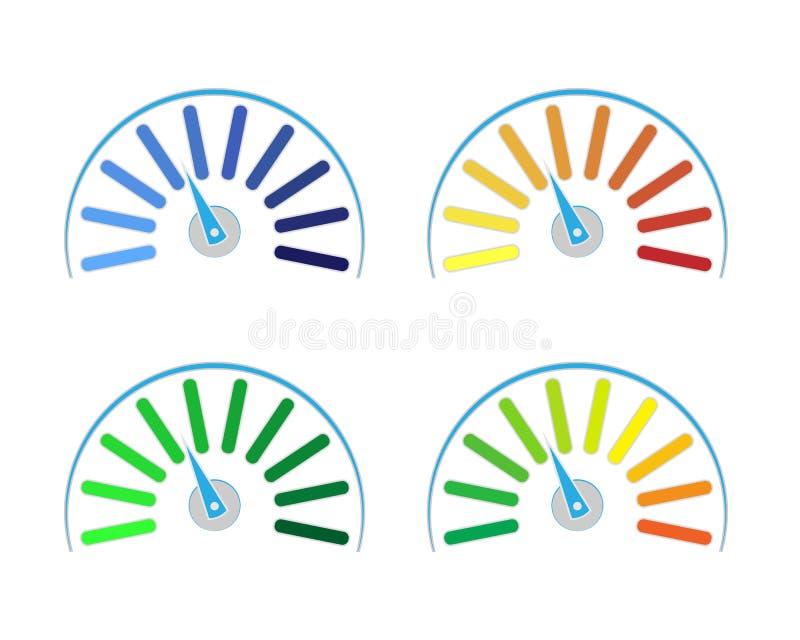 Wektorowy ustawiający barwioni wymierniki ilustracja wektor