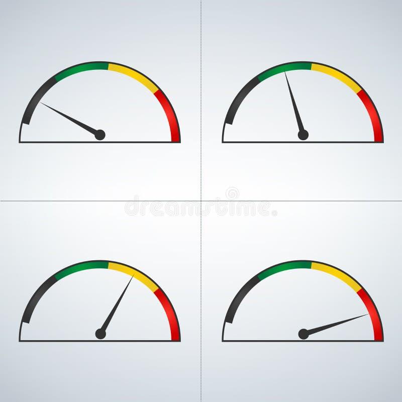 Wektorowy ustawiający barwioni wymierniki pokazuje władza poziomy od depresji wysokość Minimum maksimum Minuta Max royalty ilustracja