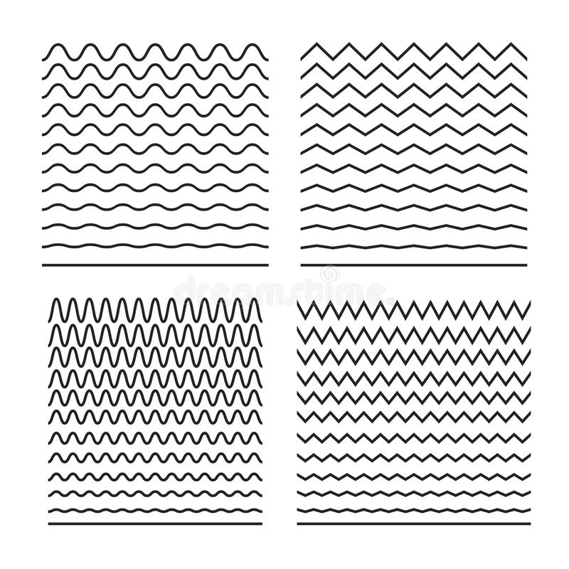 Wektorowy ustawiający bezszwowe faliste linie dobre dla muśnięć, halftone wzory, tafluje denne tekstury, sinusoidy, wyrównywacze  ilustracji