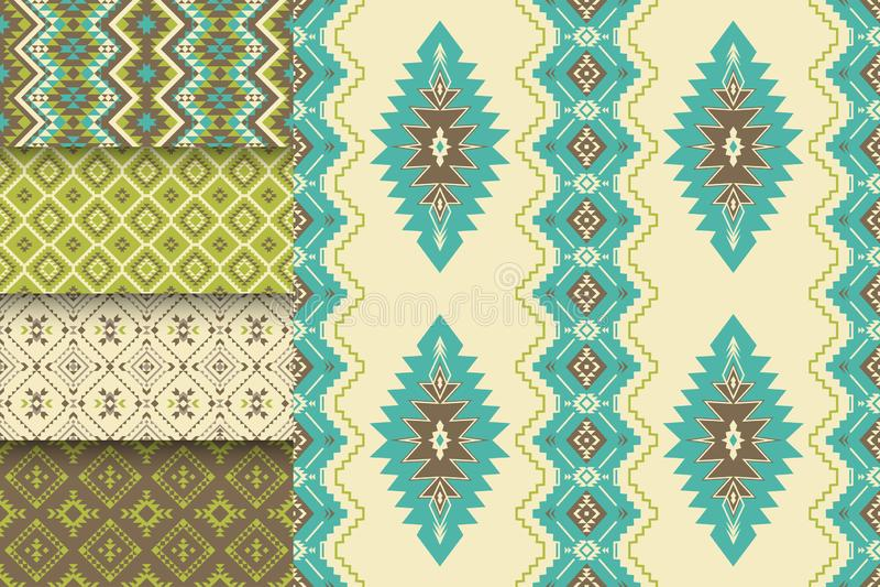Wektorowy ustawiający bezszwowe tekstury plemienni geometryczni wzory Azteka ornamentacyjny styl Etniczni rodowitego amerykanina  ilustracja wektor