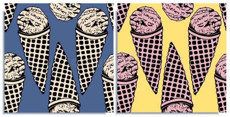 Wektorowy ustawiający bezszwowi wzory z cudownym kolorowym lody, smakiem brulee creme i truskawką, pociągany ręcznie w grafice ilustracja wektor