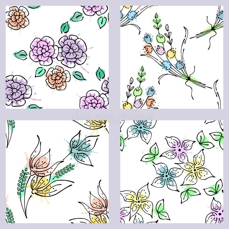 Wektorowy ustawiający bezszwowy kwiecisty wzór z kwiatami, liście, dekoracyjni elementy, pluśnięcie, kleksy, opadowa ręka rysować royalty ilustracja
