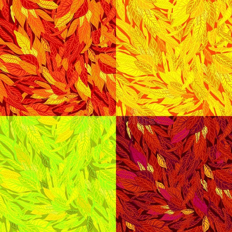 Wektorowy ustawiający bezszwowy wzór z jesień liśćmi royalty ilustracja