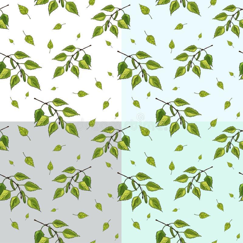 Wektorowy ustawiający bezszwowy wzór zieleni brzozy drzewa śniadanio-lunch i liście royalty ilustracja