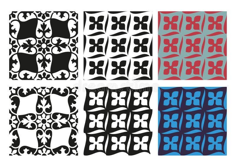 Wektorowy ustawiający bezszwowych kwiecistych wzorów czarny i biały rocznik royalty ilustracja