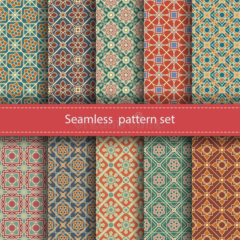 Wektorowy ustawiający 10 bezszwowych mozaik wzorów orny ilustracja wektor