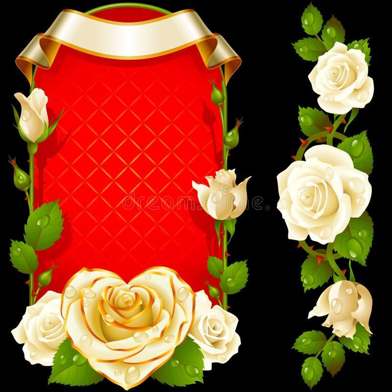 Wektorowy ustawiający Białych róż dekoracja royalty ilustracja