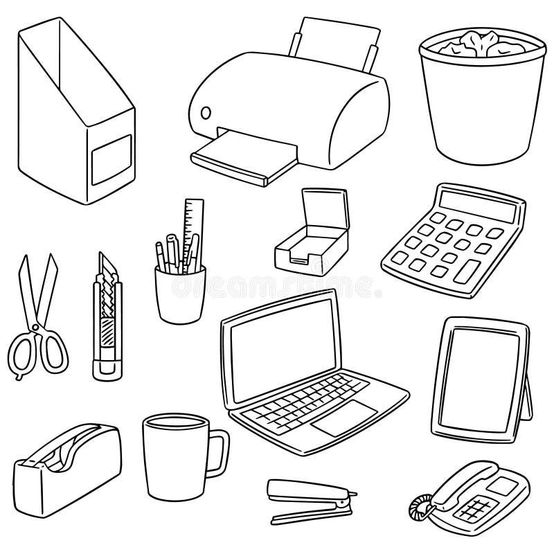 Wektorowy ustawiający biurowi akcesoria ilustracji