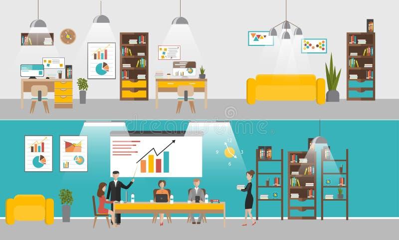 Wektorowy ustawiający biurowi wewnętrzni sztandary w mieszkanie stylu projekcie Ludzie biznesu i urzędnicy Firmy przyjęcie i royalty ilustracja