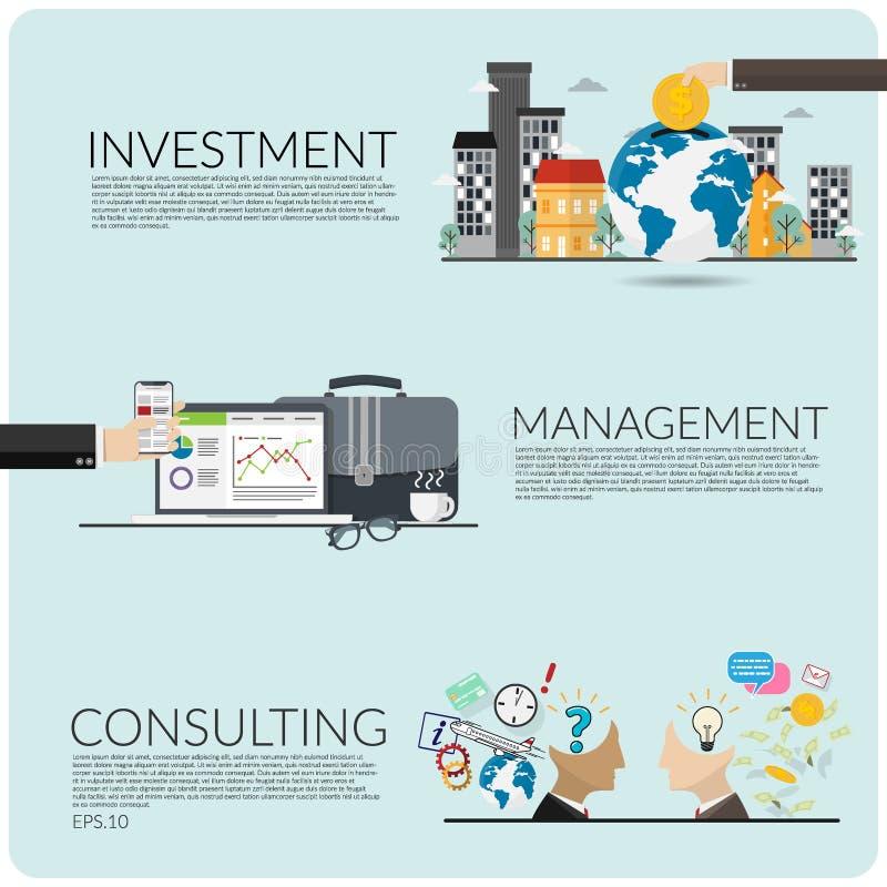 Wektorowy ustawiający biznesowy pojęcie inwestycja, zarządzanie i konsultować, royalty ilustracja