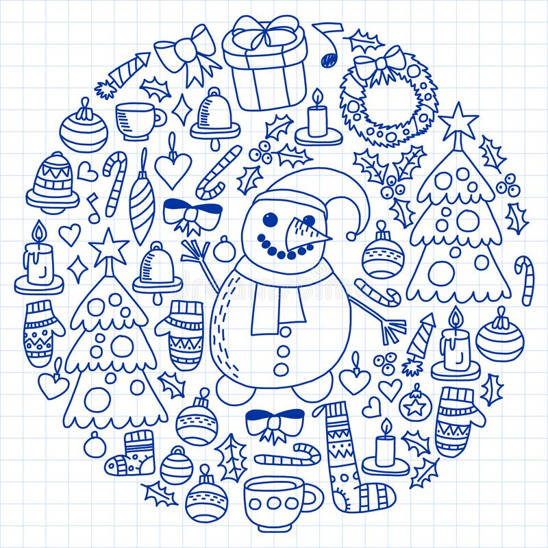 Wektorowy ustawiający boże narodzenia, wakacyjne ikony w doodle projektuje Malujący, rysujący z piórem na prześcieradle w kratkę  ilustracji