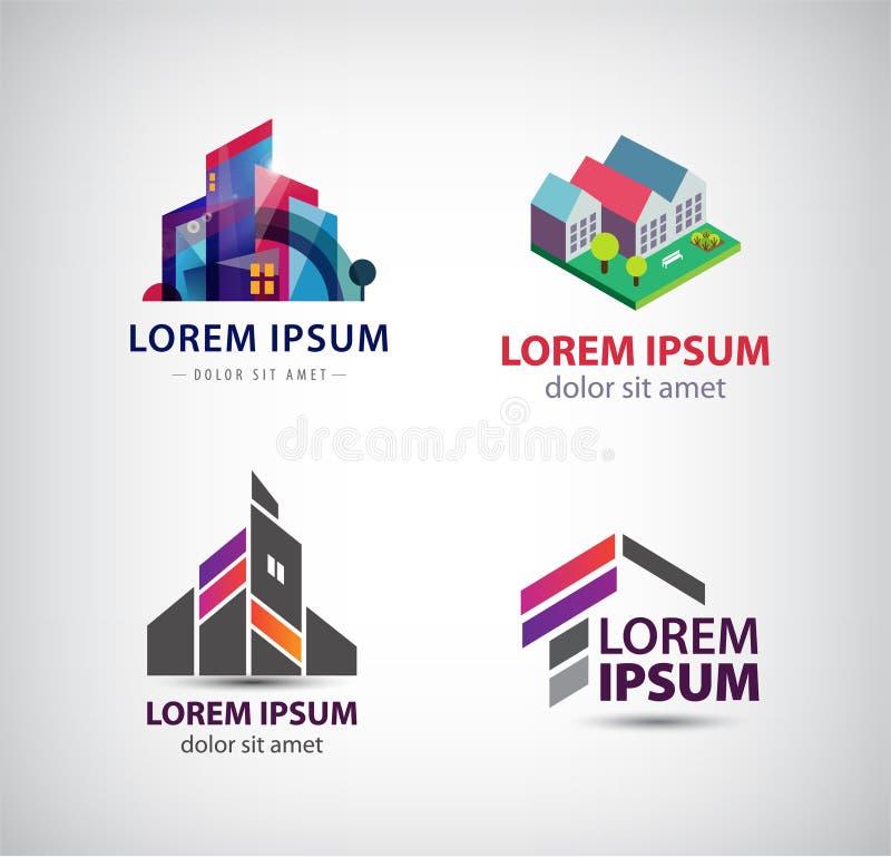 Wektorowy ustawiający budynek, domy, miasto, grodzcy logowie, ikony odizolowywać royalty ilustracja