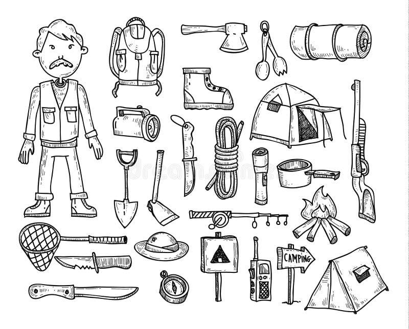 Wektorowy ustawiający campingowe ikony ilustracja wektor