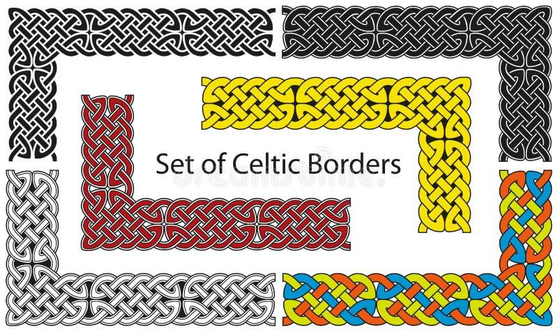 Wektorowy ustawiający Celta stylu granicy ilustracja wektor