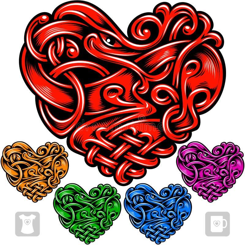Wektorowy ustawiający celta wzór w formie serca ilustracja wektor