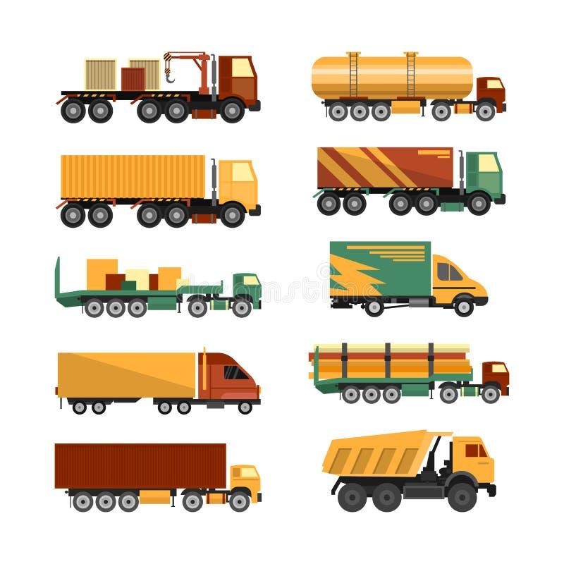 Wektorowy ustawiający ciężarówek ikony na białym tle Dostawy i wysyłki ładunku pojazdy royalty ilustracja