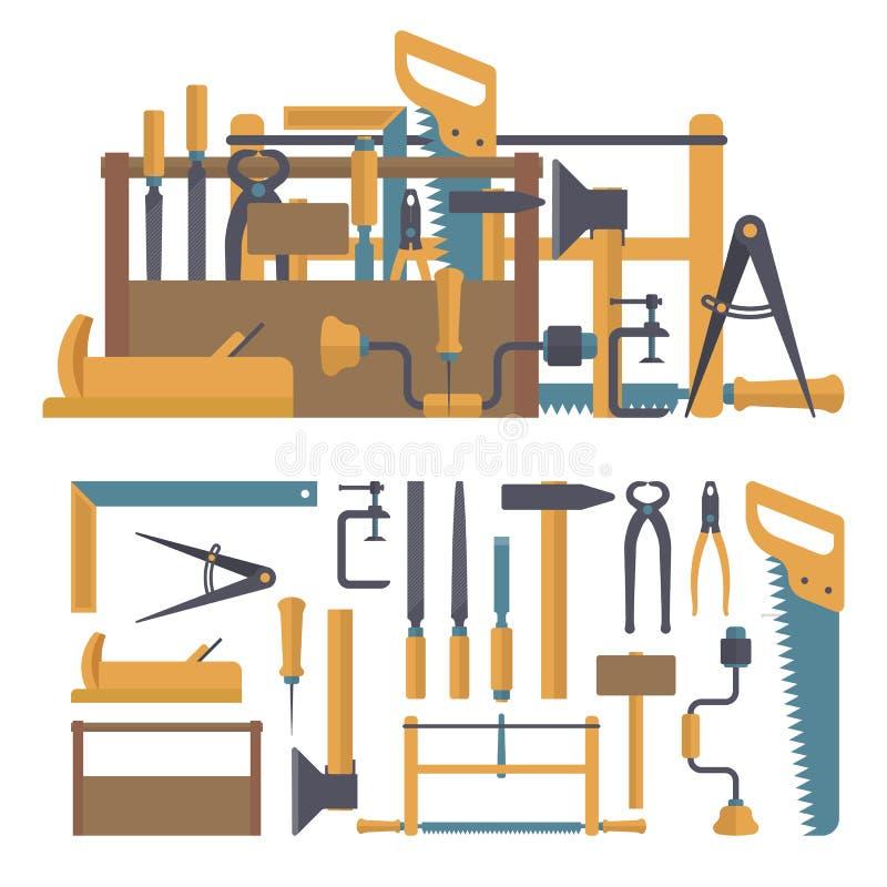 Wektorowy ustawiający cieśli narzędzia i instrumenty w mieszkaniu projektujemy Domowa budowy naprawa ilustracja wektor
