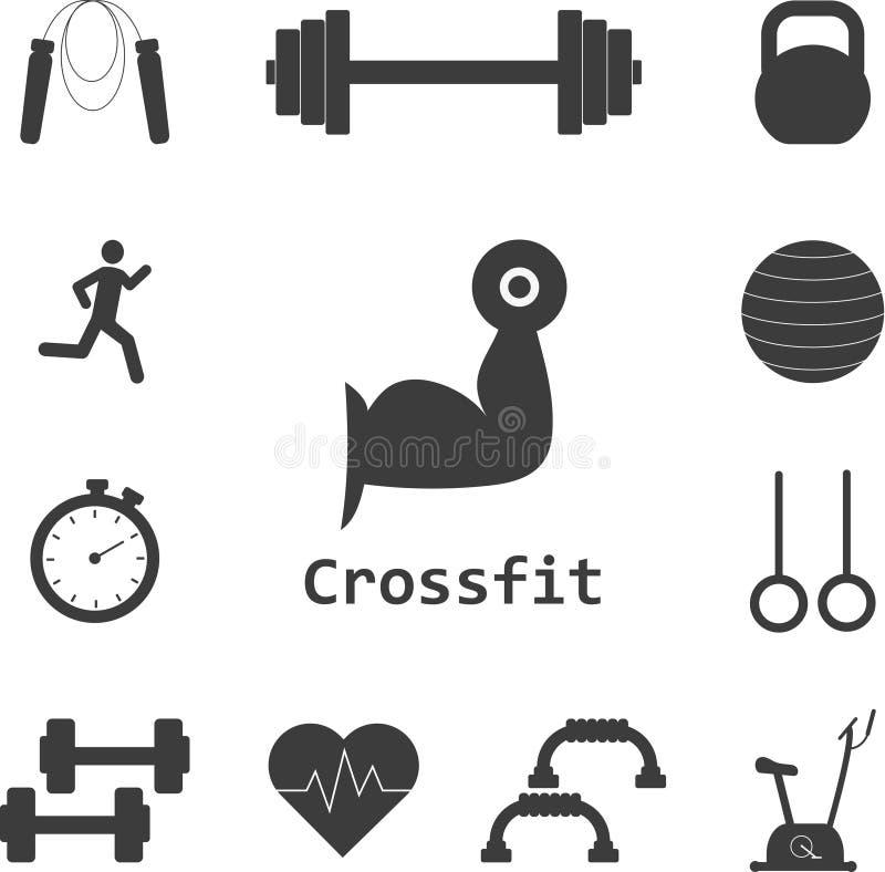 Wektorowy Ustawiający Crossfit ikony Sport, sprawność fizyczna, gym trening ilustracja wektor