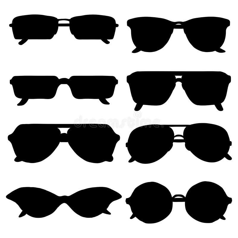 Wektorowy Ustawiający Czarne okulary przeciwsłoneczni sylwetki ilustracji