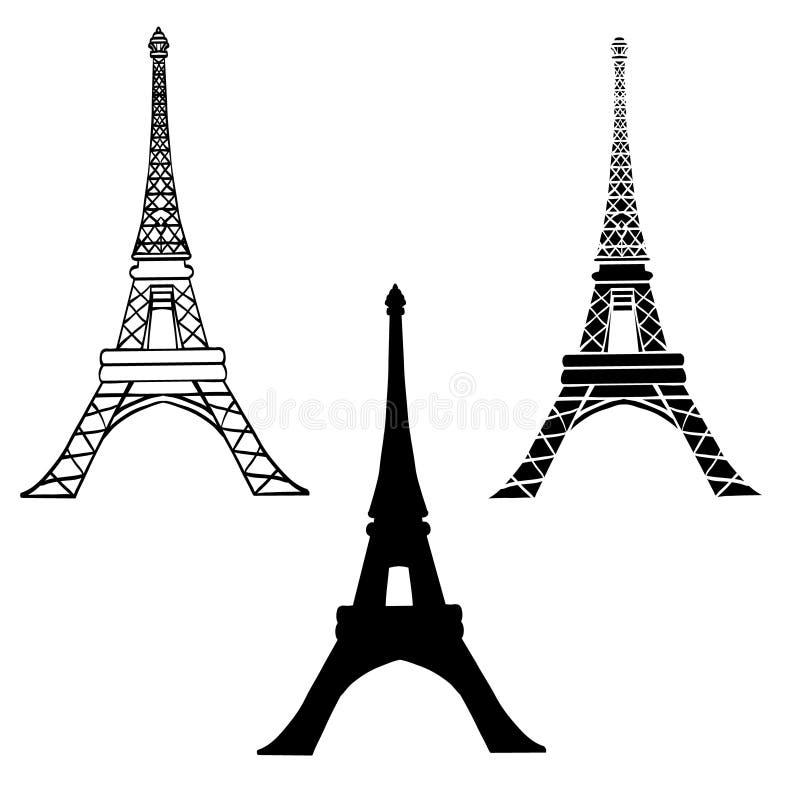Wektorowy Ustawiający 3 Czarnej wieży eifla w Paryskiej sylwetce W Różnych stylach paris Francuski punkt zwrotny Na Białym tle ilustracji