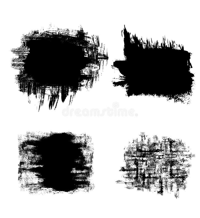 Wektorowy ustawiający czarni grunge sztandary royalty ilustracja