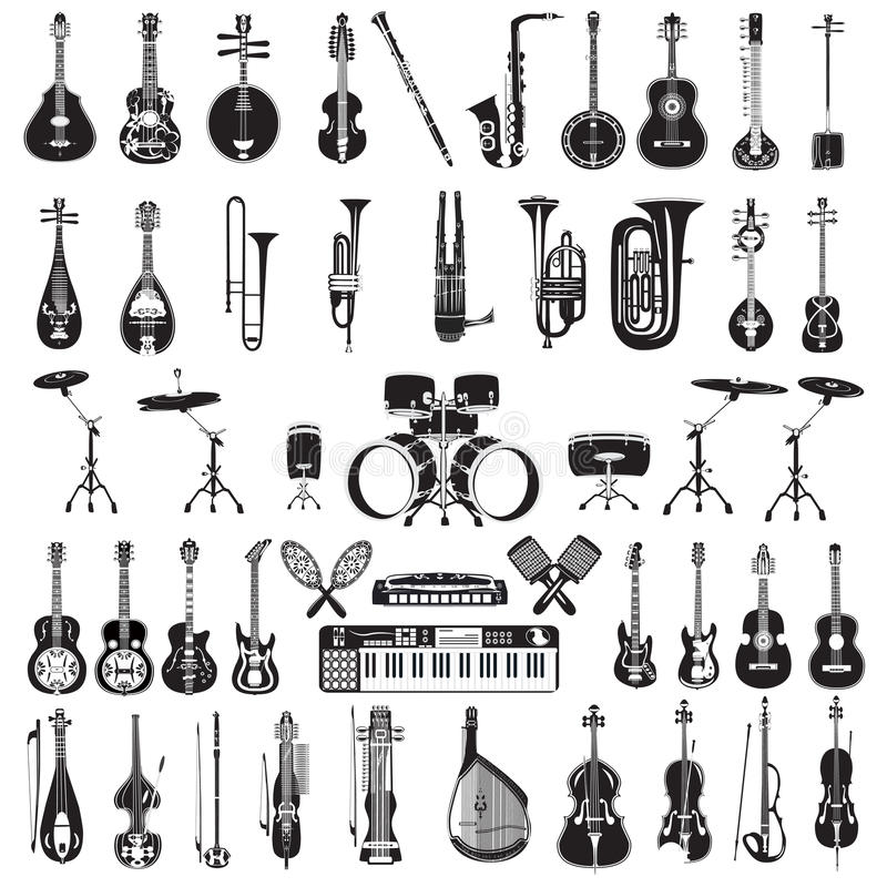 Wektorowy ustawiający czarny i biały instrumenty muzyczni, mieszkanie styl ilustracja wektor