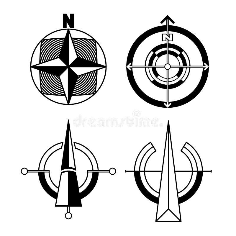 Wektorowy ustawiający czarny i biały orientacji ikony royalty ilustracja