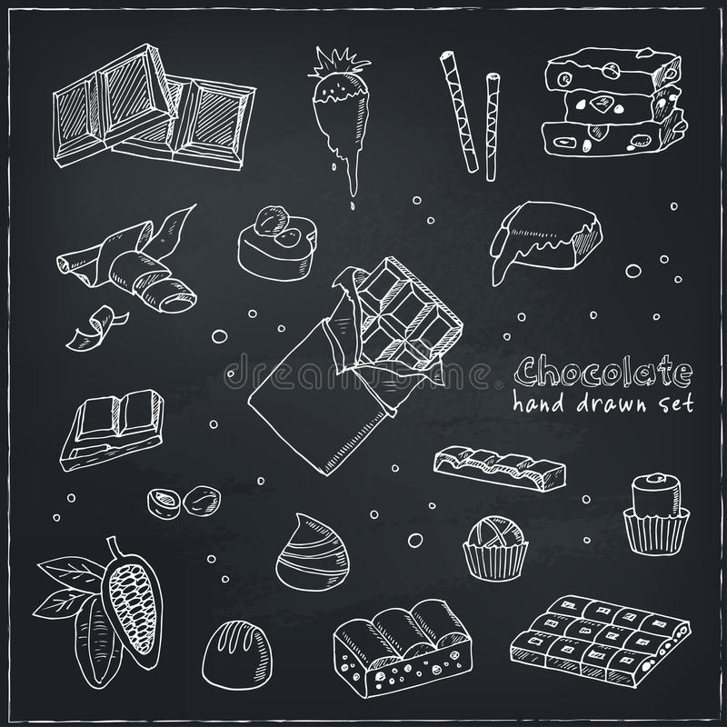 Wektorowy Ustawiający czekolada Ilustracja dla menu, przepisy ilustracja wektor
