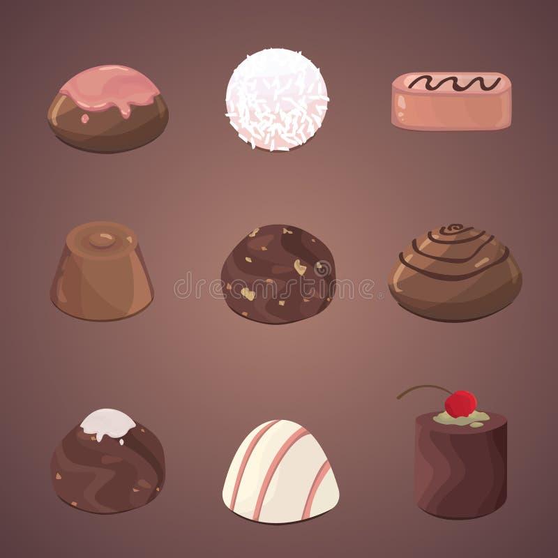 Wektorowy ustawiający czekoladowi cukierki Ilustracyjne czekolady i trufle royalty ilustracja