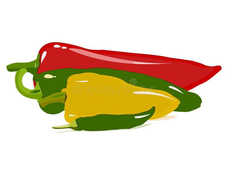 Wektorowy ustawiający czerwień, zieleń i żółci gorący pieprze, ilustracji