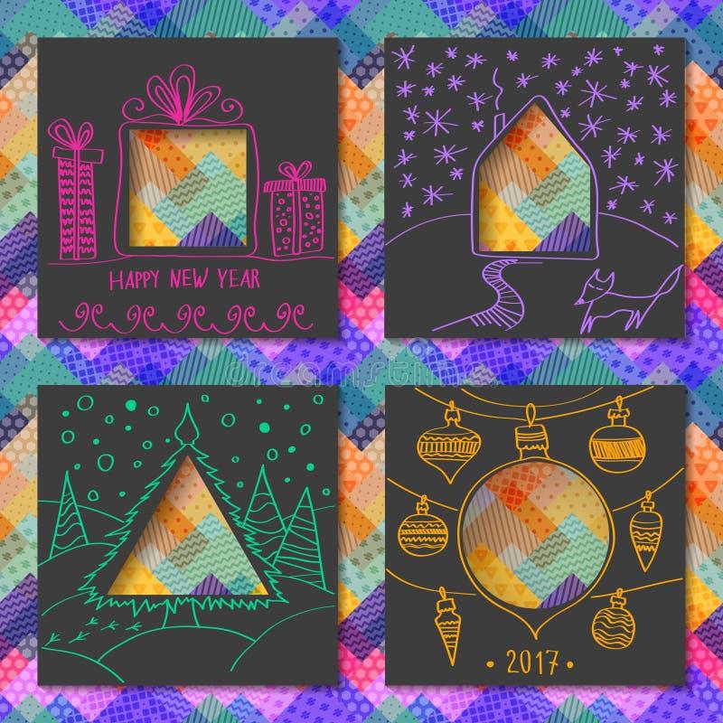 Wektorowy ustawiający cztery szablonu dla papierowych kartek bożonarodzeniowa ilustracja wektor