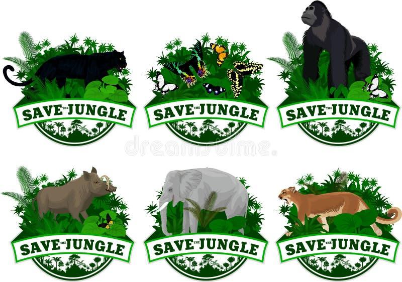 Wektorowy ustawiający dżungla tropikalnego lasu deszczowego emblematy z słoniem, puma kuguarem, panterą, gorylem, dzikim wieprza  ilustracja wektor