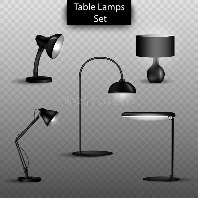 Wektorowy ustawiający 3d odizolowywał stołowe lampy na przejrzystym tle Elementy domowy wewnętrzny projekt royalty ilustracja