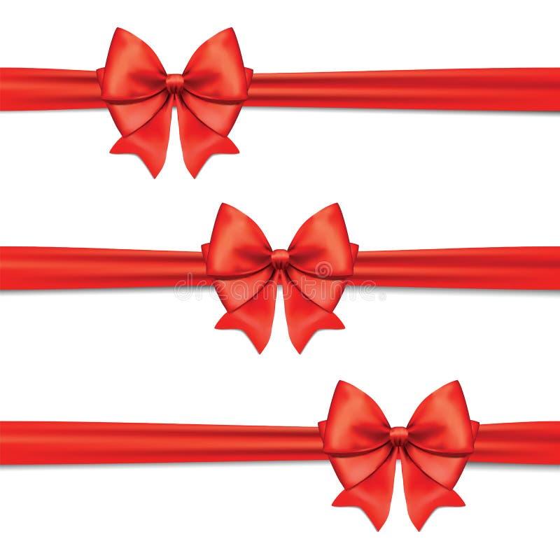 Wektorowy ustawiający dekoracyjni czerwoni łęki z horyzontalnym faborkiem, isolat ilustracja wektor