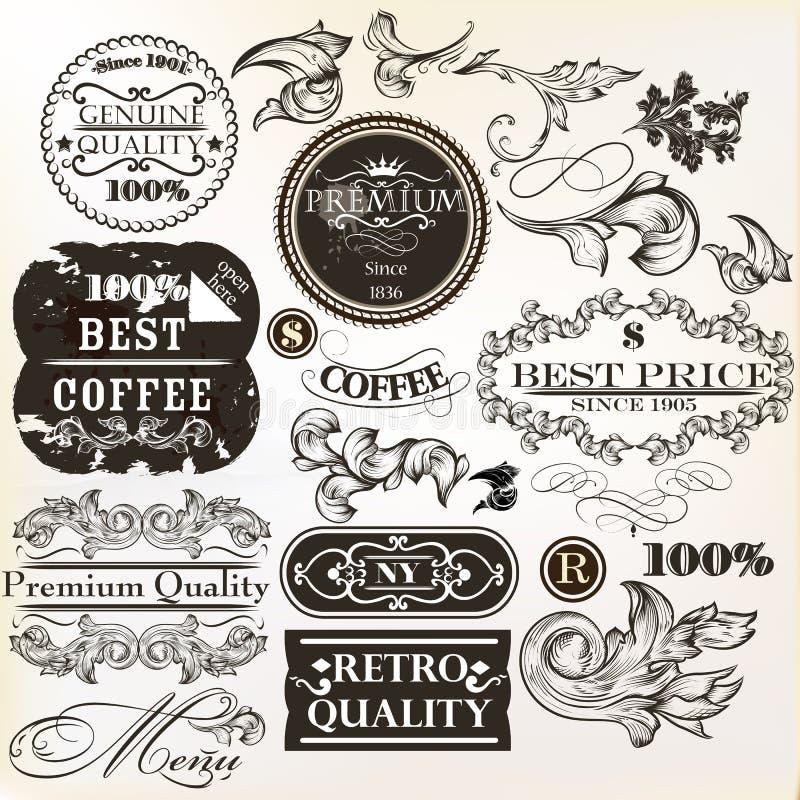 Wektorowy ustawiający dekoracyjni elementy i etykietki w retro stylu royalty ilustracja