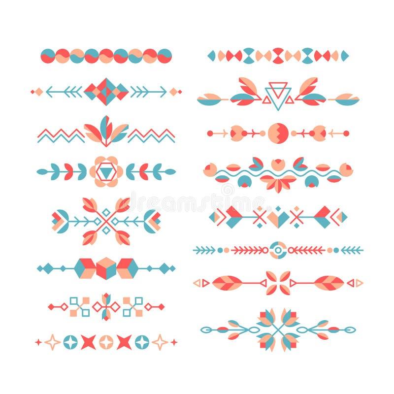 Wektorowy ustawiający dekoracyjni płascy projektów elementy royalty ilustracja