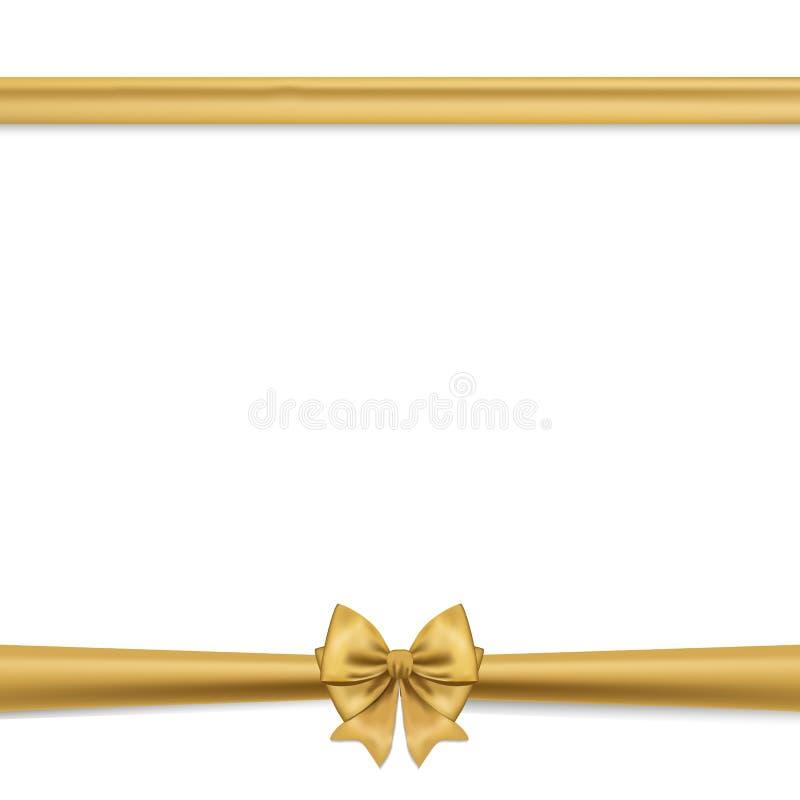 Wektorowy ustawiający dekoracyjni złoci łęki z horyzontalnym faborkiem, odizolowywający na bielu Złocisty łęk dla prezenta wystro royalty ilustracja