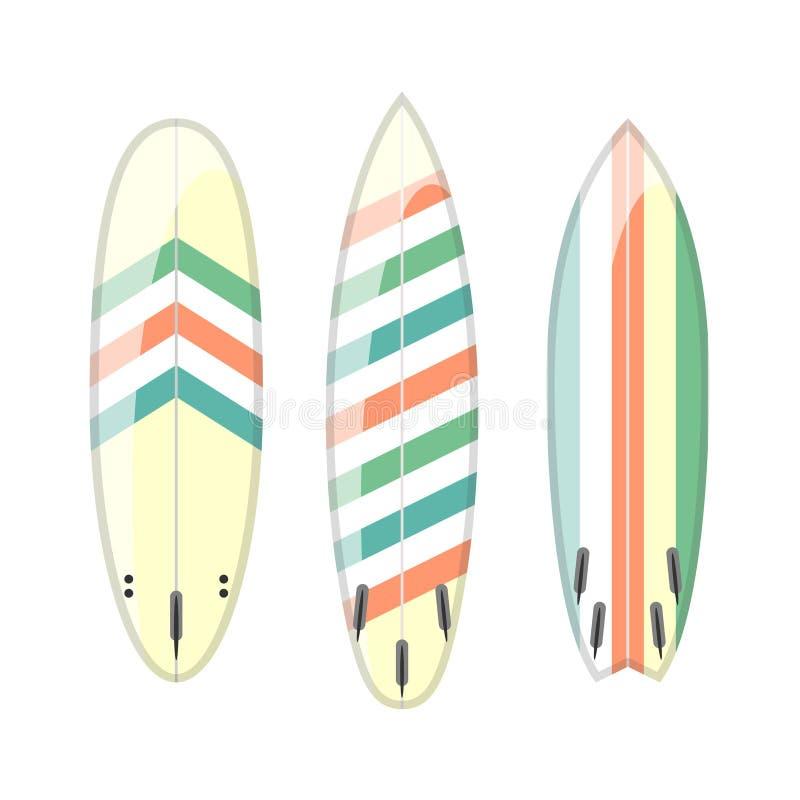 Wektorowy ustawiający dekorujący kolorowi surfboards royalty ilustracja