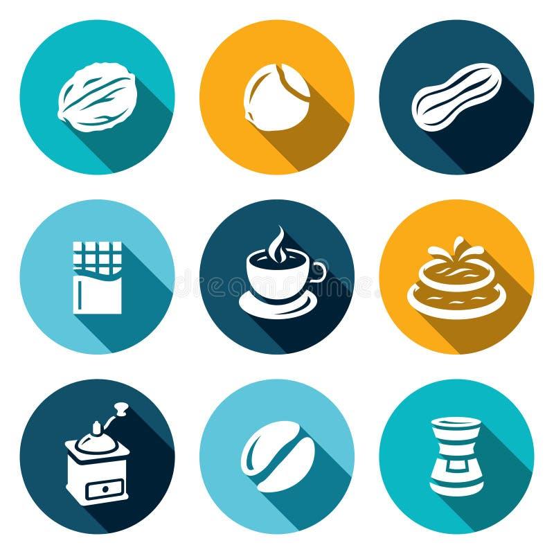 Wektorowy Ustawiający dokrętek, czekolady i kawy ikony, ilustracja wektor