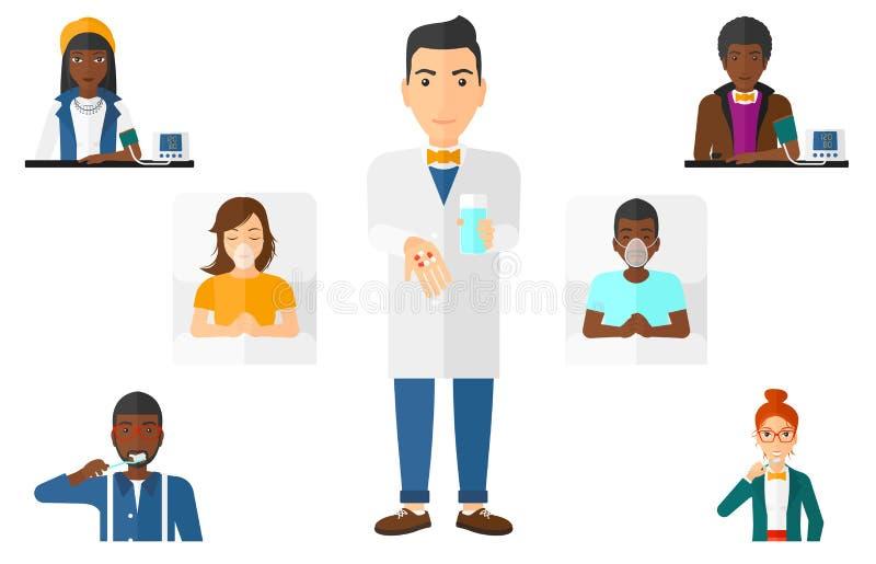 Wektorowy ustawiający doktorscy charaktery i pacjenci royalty ilustracja