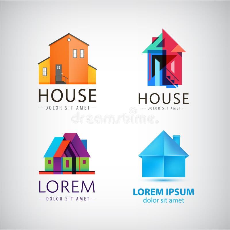 Wektorowy ustawiający domowi logowie, własność, nieruchomość ilustracja wektor