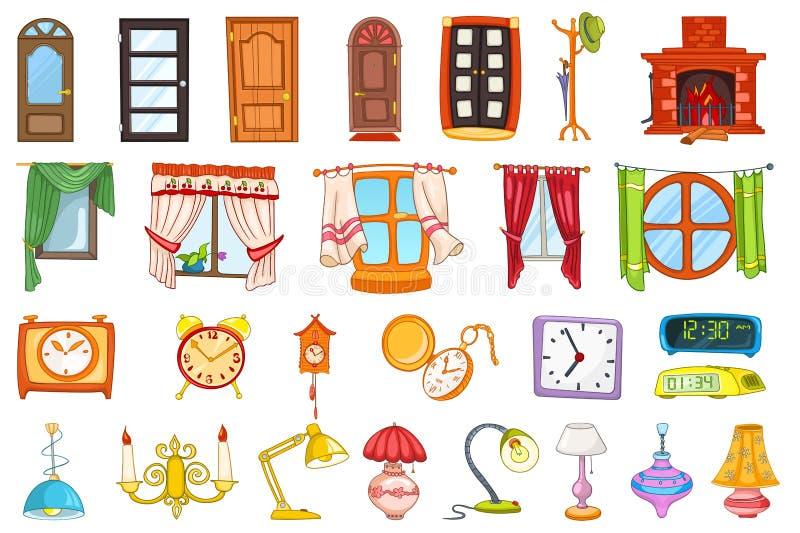 Wektorowy ustawiający domowi wewnętrzni przedmioty royalty ilustracja