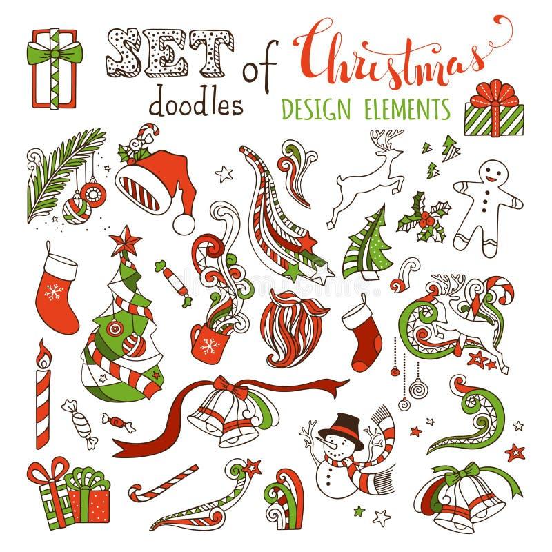 Wektorowy ustawiający doodles bożych narodzeń projekta elementy ilustracji