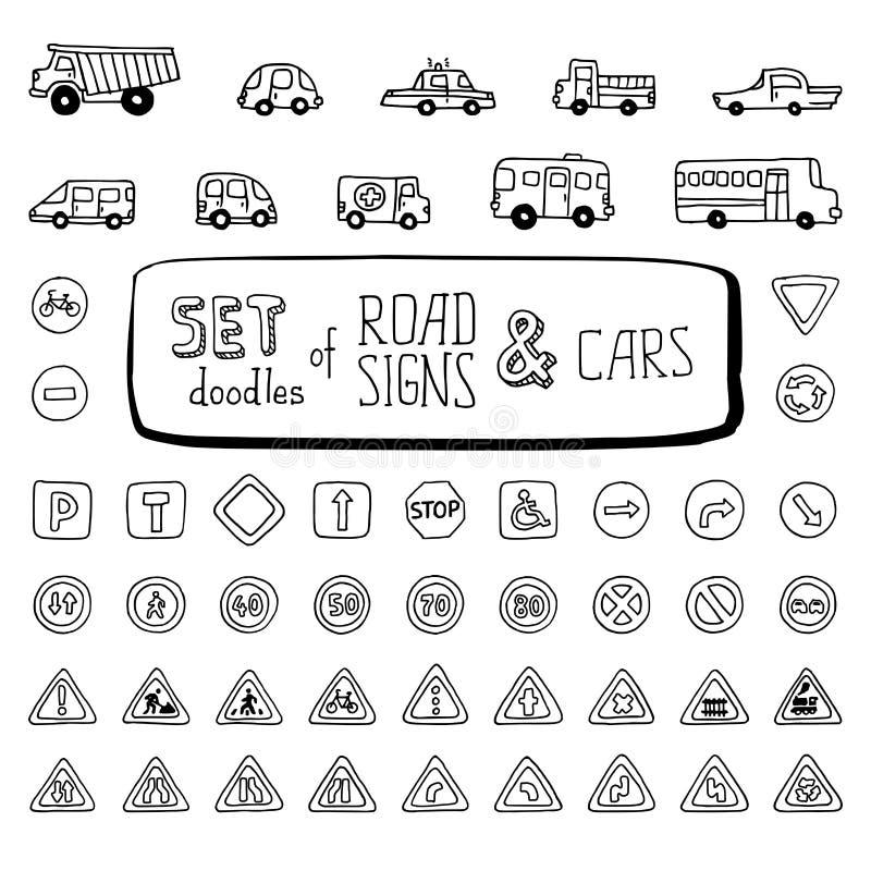 Wektorowy ustawiający doodles drogowi znaki samochody i royalty ilustracja