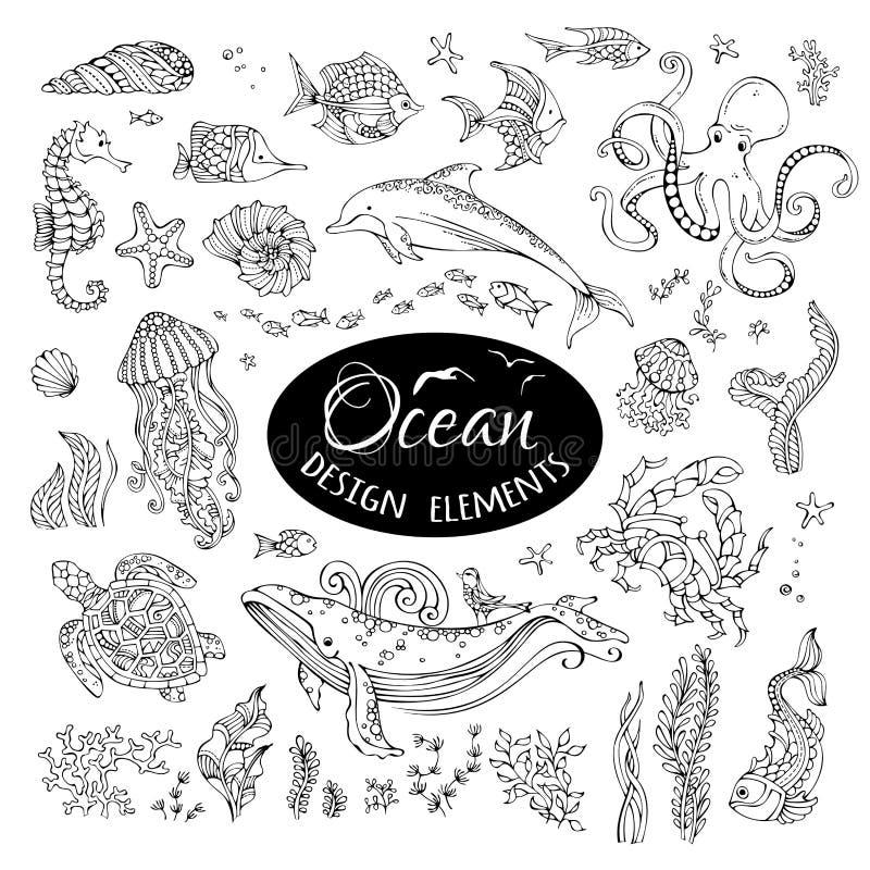Wektorowy ustawiający doodles oceanu projekta podwodni elementy ilustracja wektor