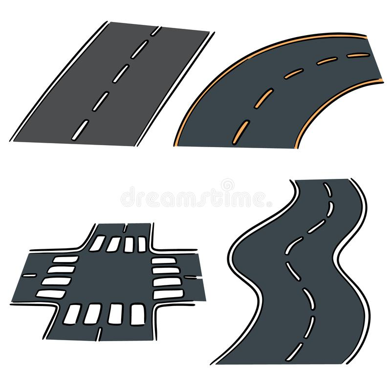 Wektorowy ustawiający droga ilustracja wektor