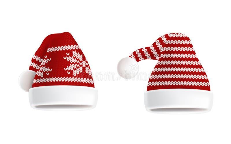 Wektorowy ustawiający dwa dział Santa kapelusze z wzorem royalty ilustracja